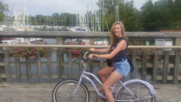 Cycling over one of the bridges.