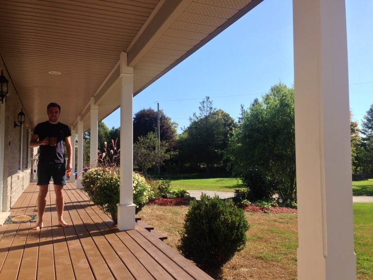 The porch, and Greig.